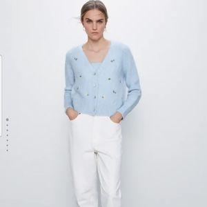 ZARA Knit Embroidered Blue Cardigan NWT Size M